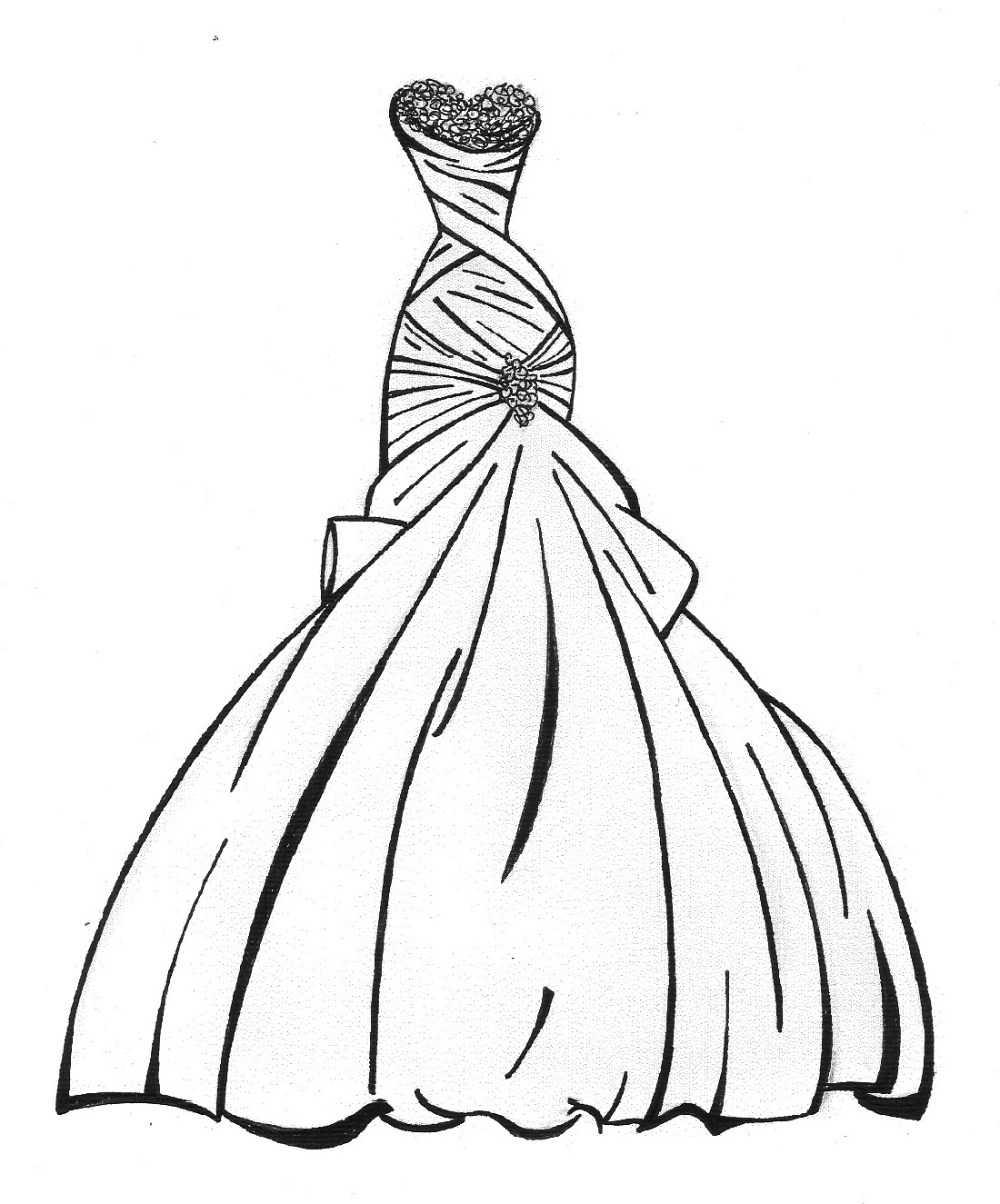 Wedding dress coloring pages one