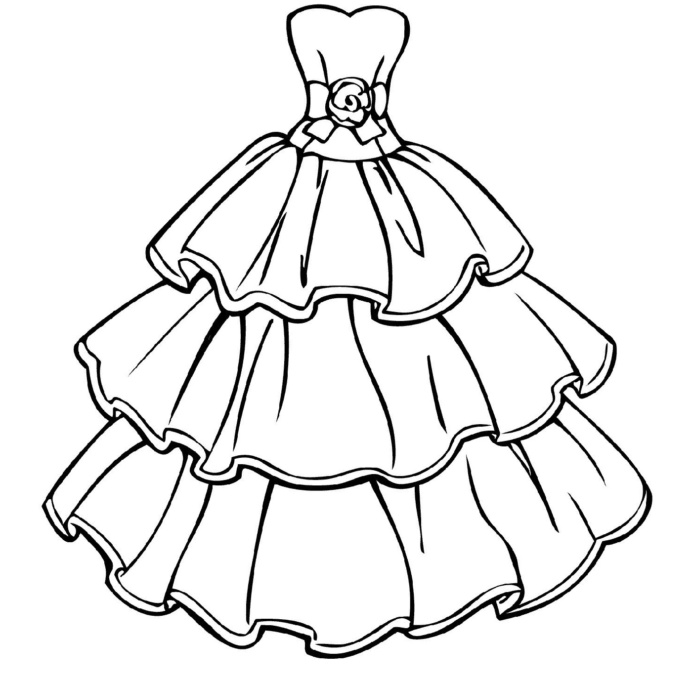 Wedding dress coloring pages two