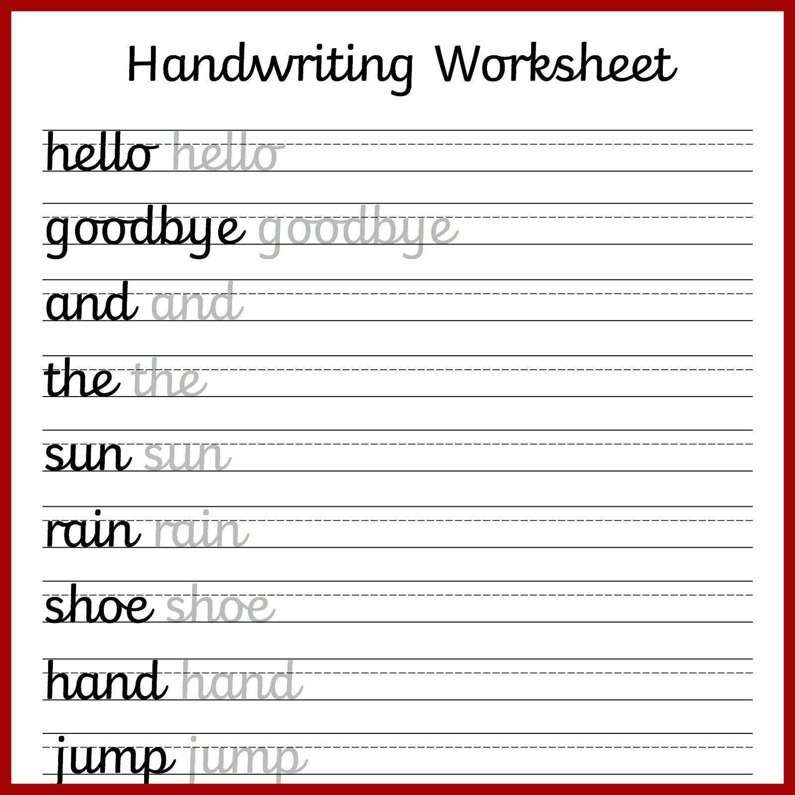 Writing worksheets 1