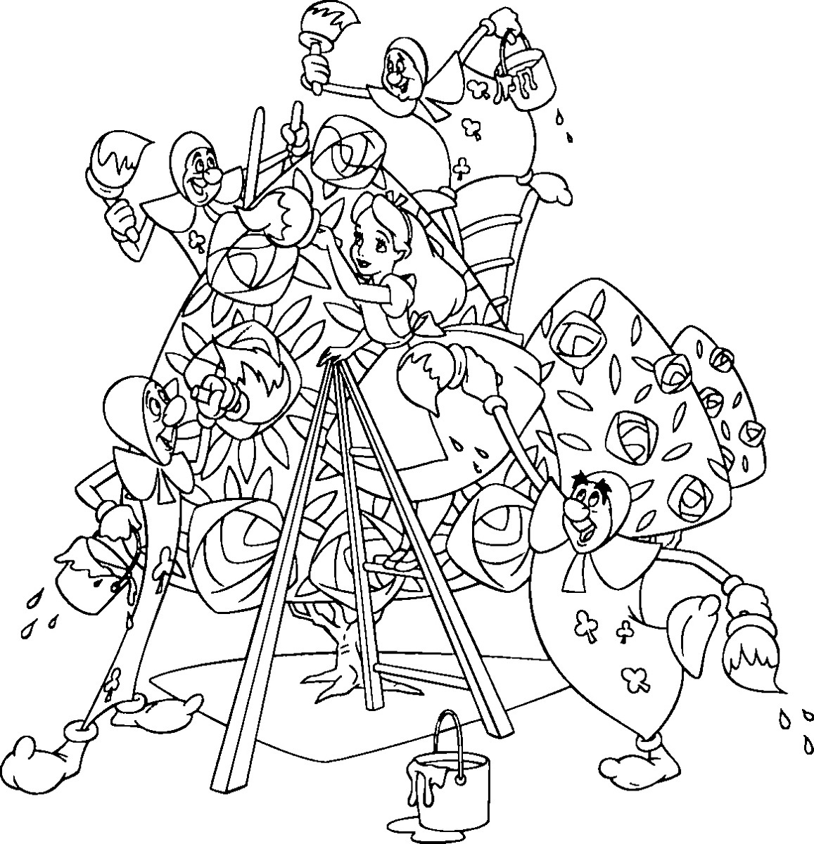 alice in wonderland coloring pages happy and friend