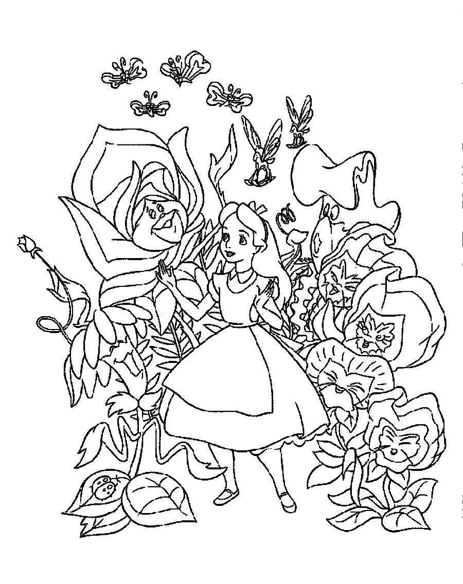 alice in wonderland coloring pages happy