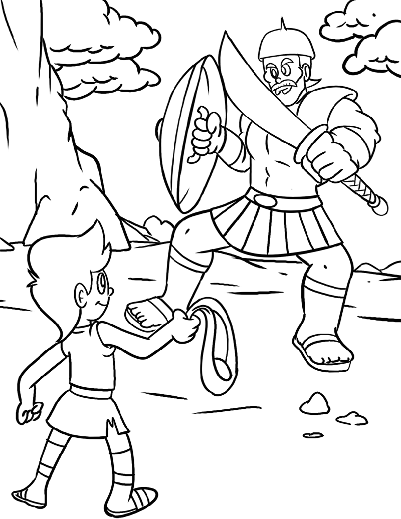 david and goliath coloring page bible