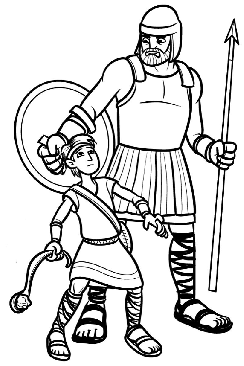 david and goliath coloring page b&w