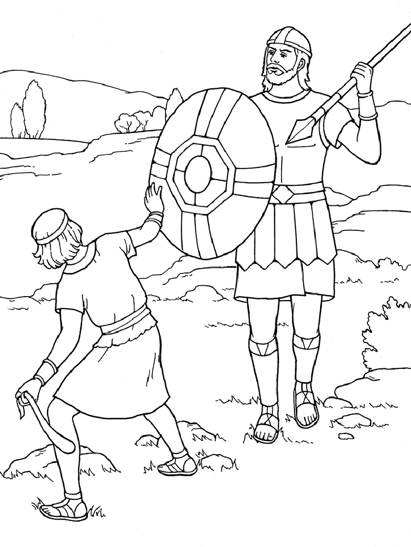 david and goliath coloring page whittaker