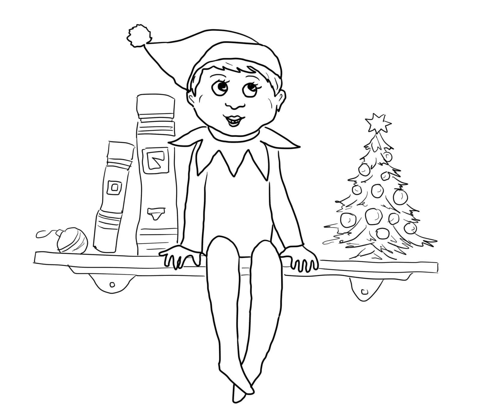 elf on the shelf coloring sheets christimas