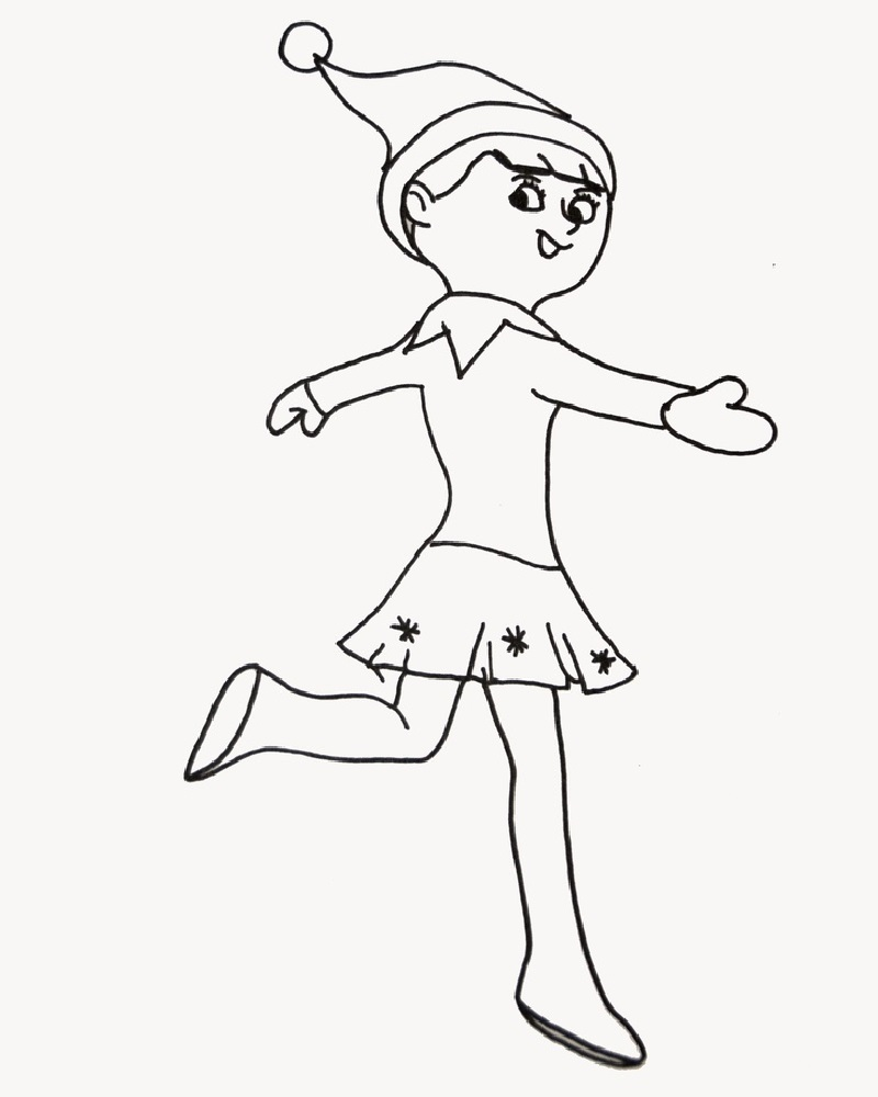 elf on the shelf coloring sheets dancing