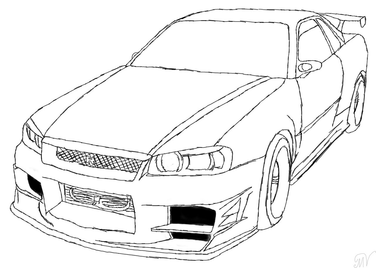 fast and furious coloring pages nissan skyline