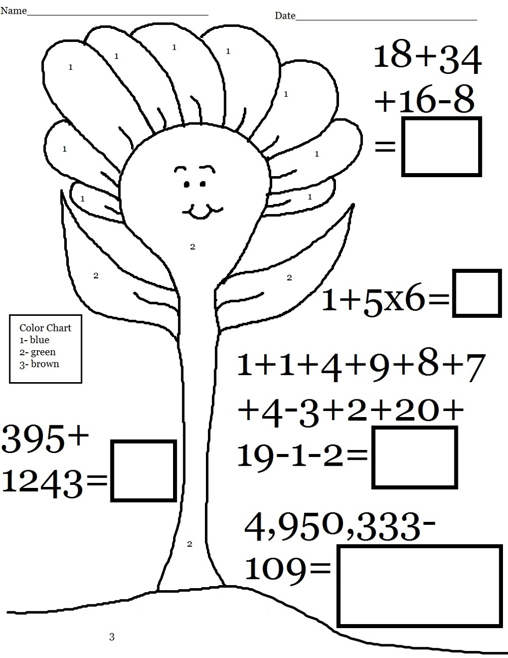 free math worksheets count tree