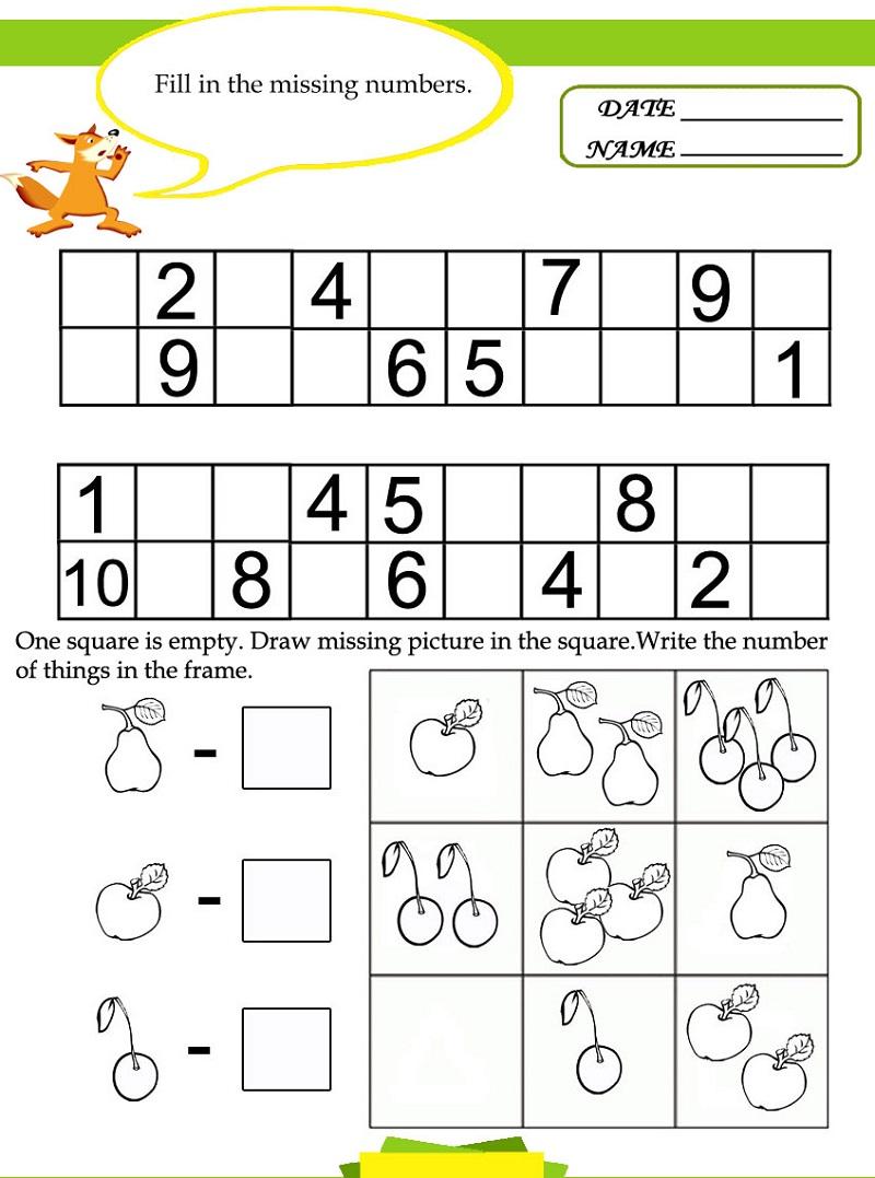 free math worksheets fruit