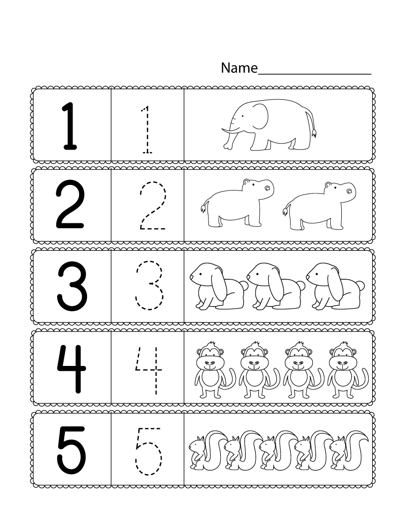 free preschool printables animal number