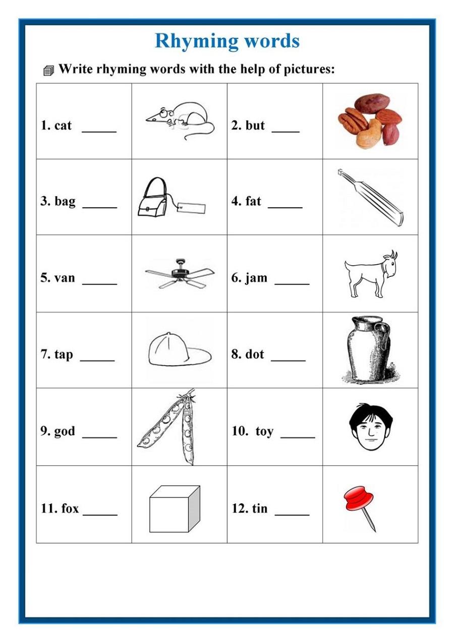 free worksheets to print rhyming words