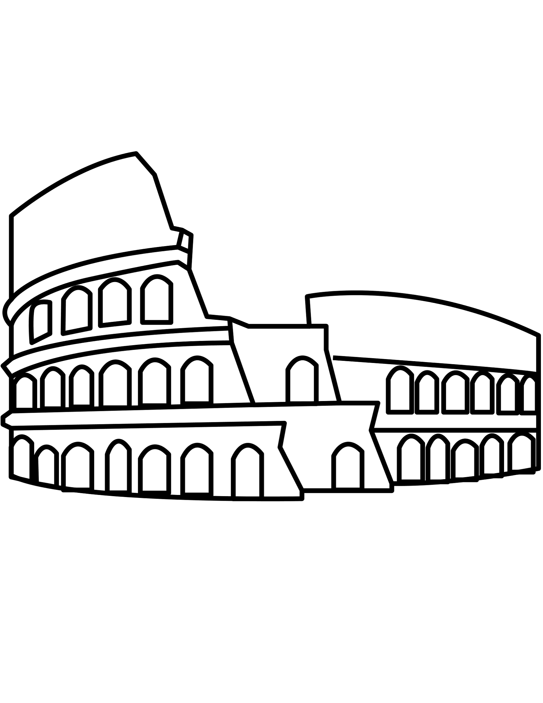 Italy flag coloring page colosseum