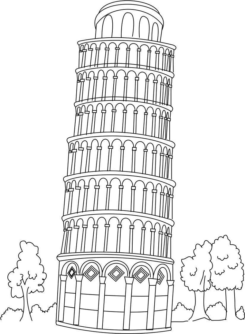italy flag coloring page tower of pisa
