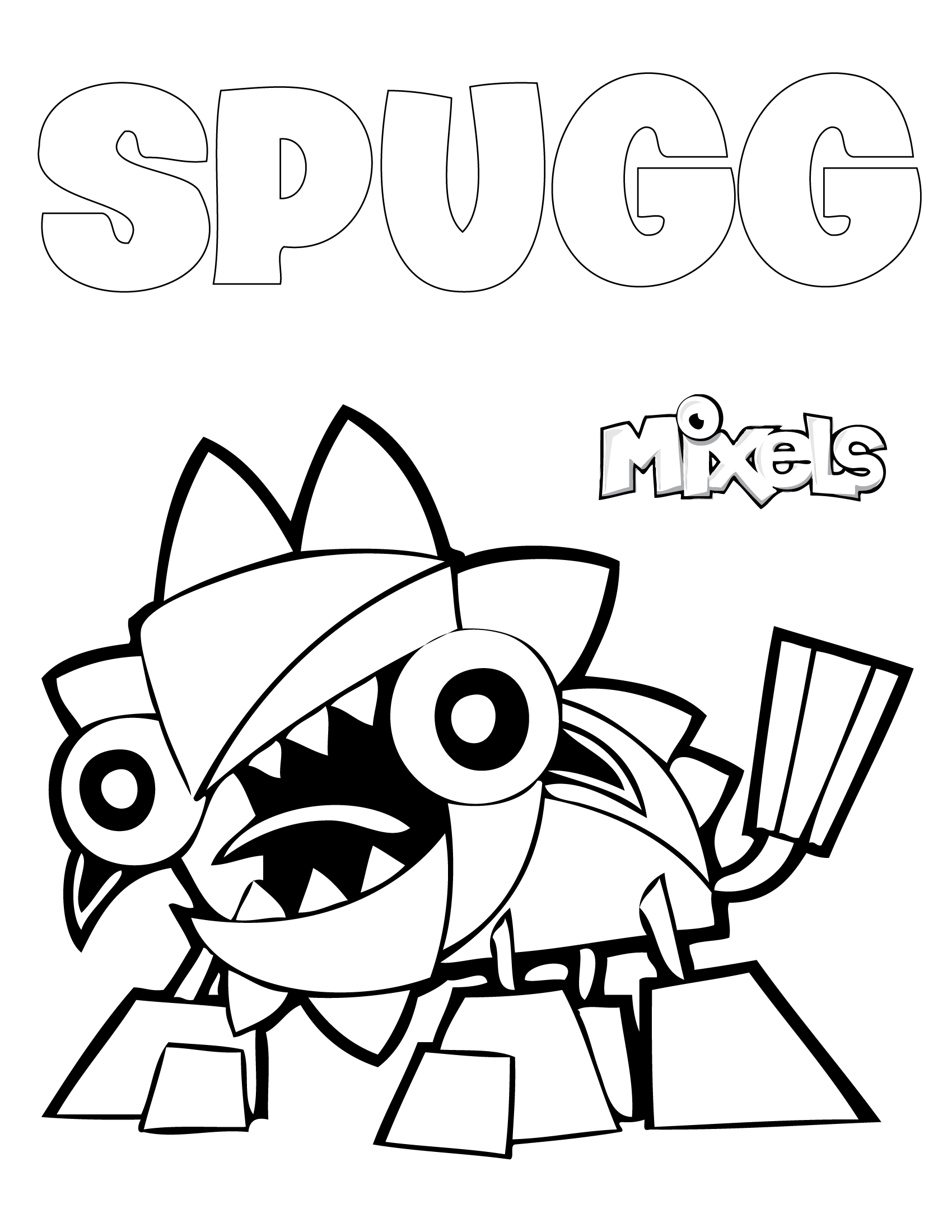 mixels coloring pages spugg