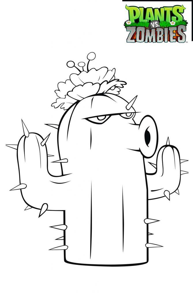 plants vs zombies coloring pages Cactus
