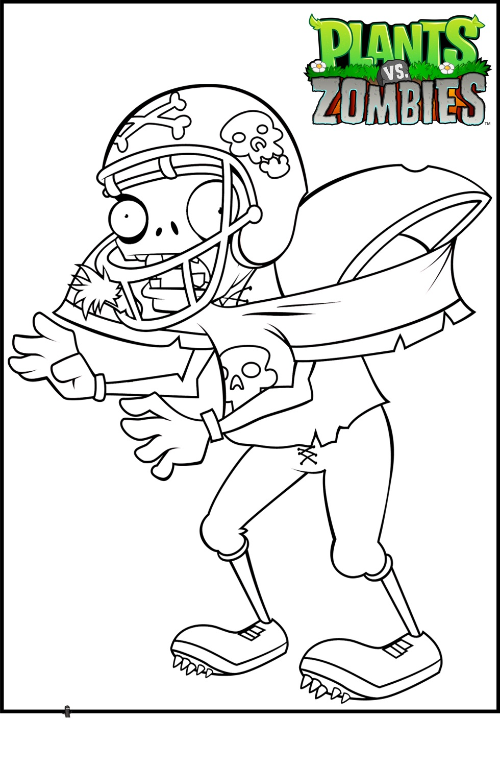 plants vs zombies coloring pages Football zomb