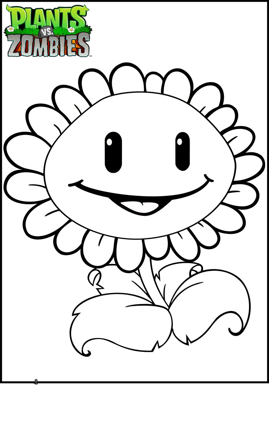 plants vs zombies coloring pages Sun flower