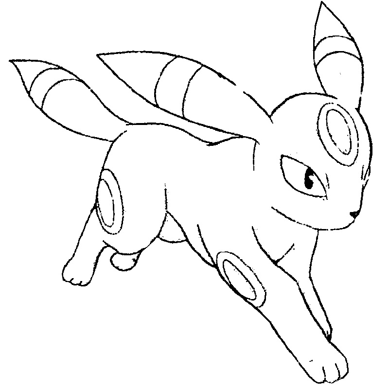 pokemon coloring pages eevee evolutions umbreo