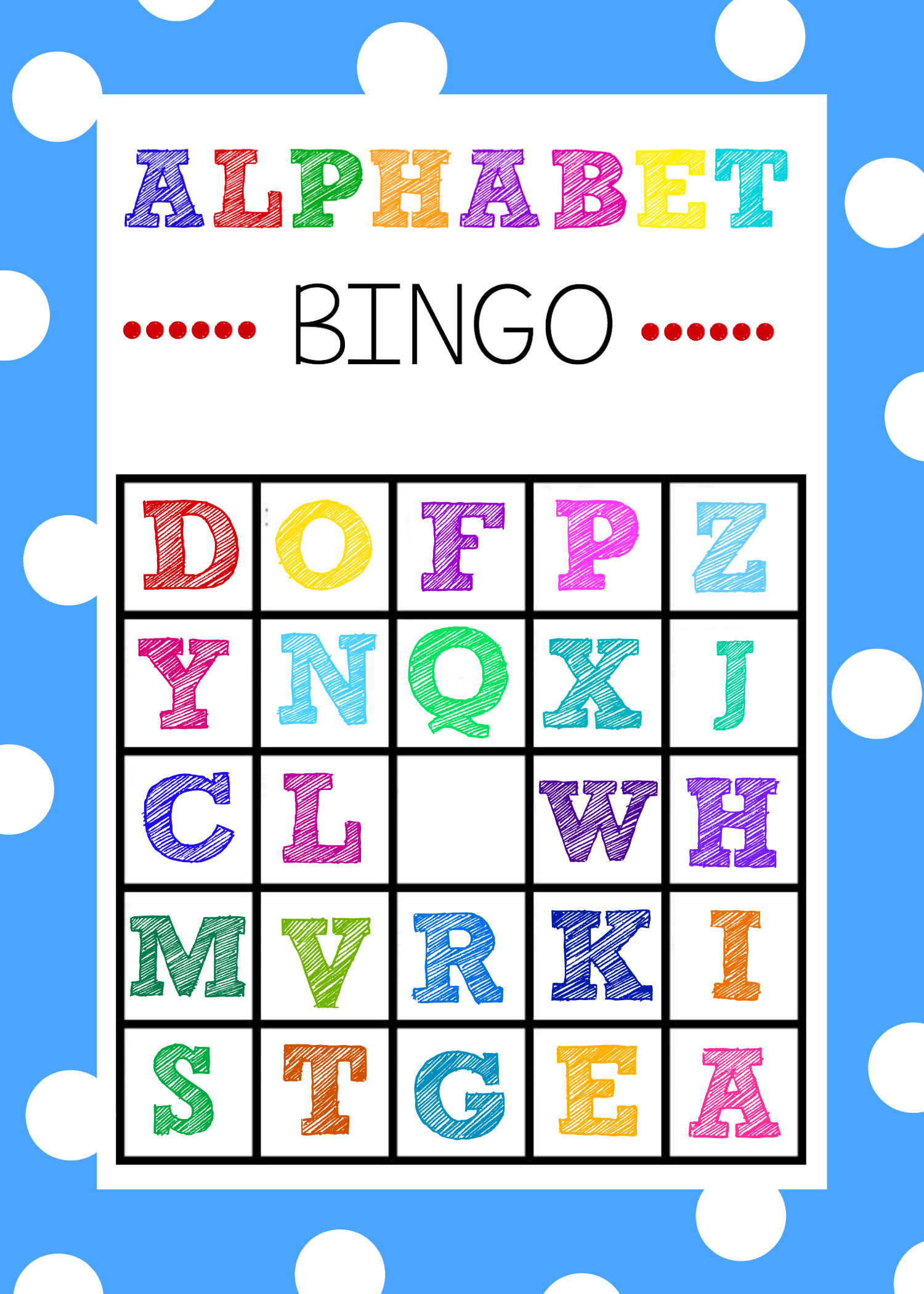 printable games for kindergarten bingo