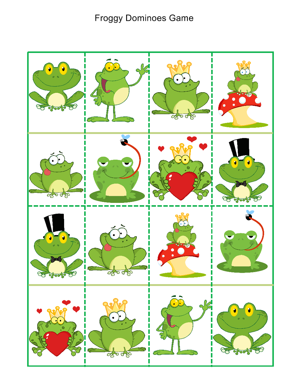 printable games for kindergarten froggy dominoes game