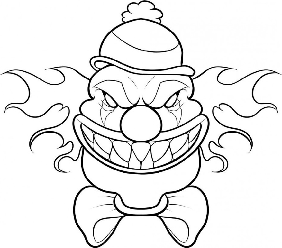 scary clown coloring pages 1