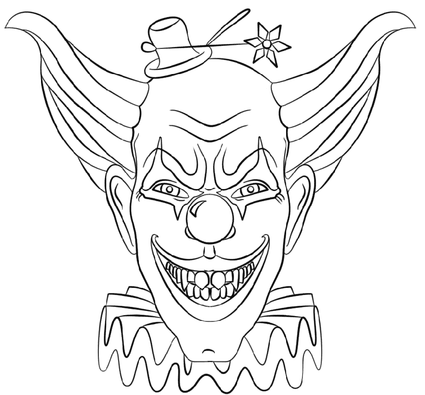 scary clown coloring pages 2