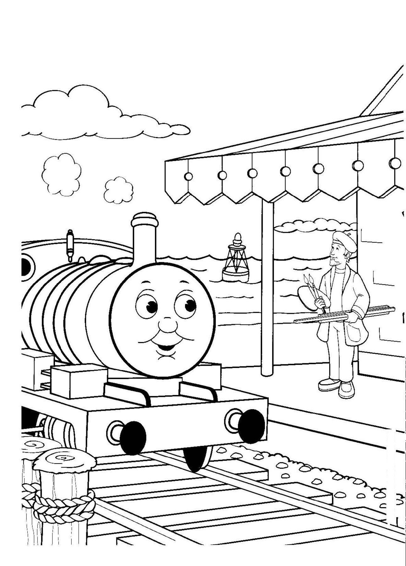 thomas coloring pages five