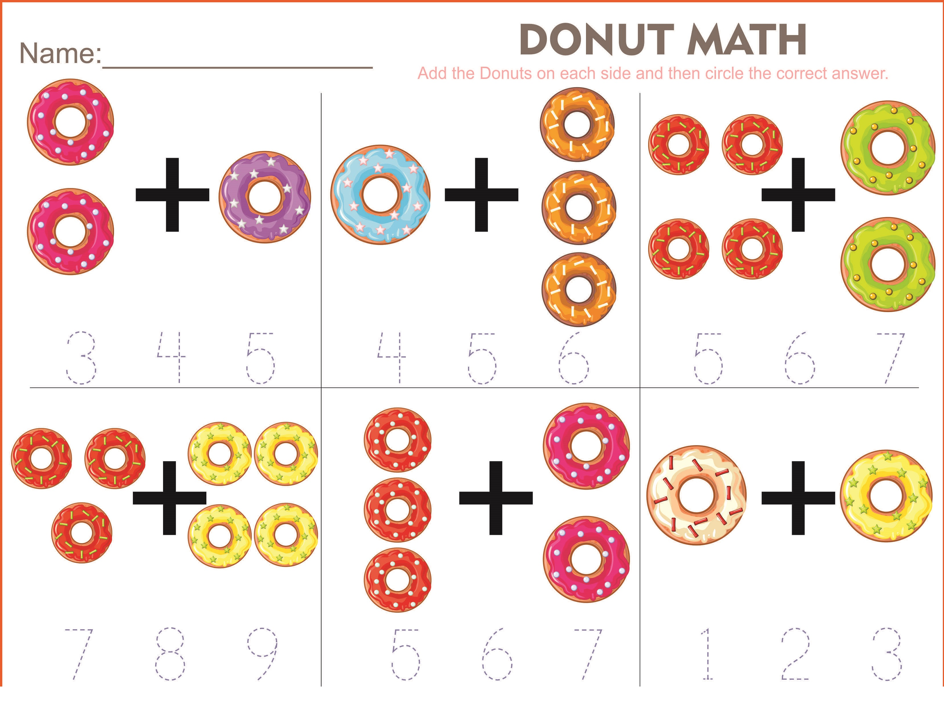 toddler activity worksheets donut