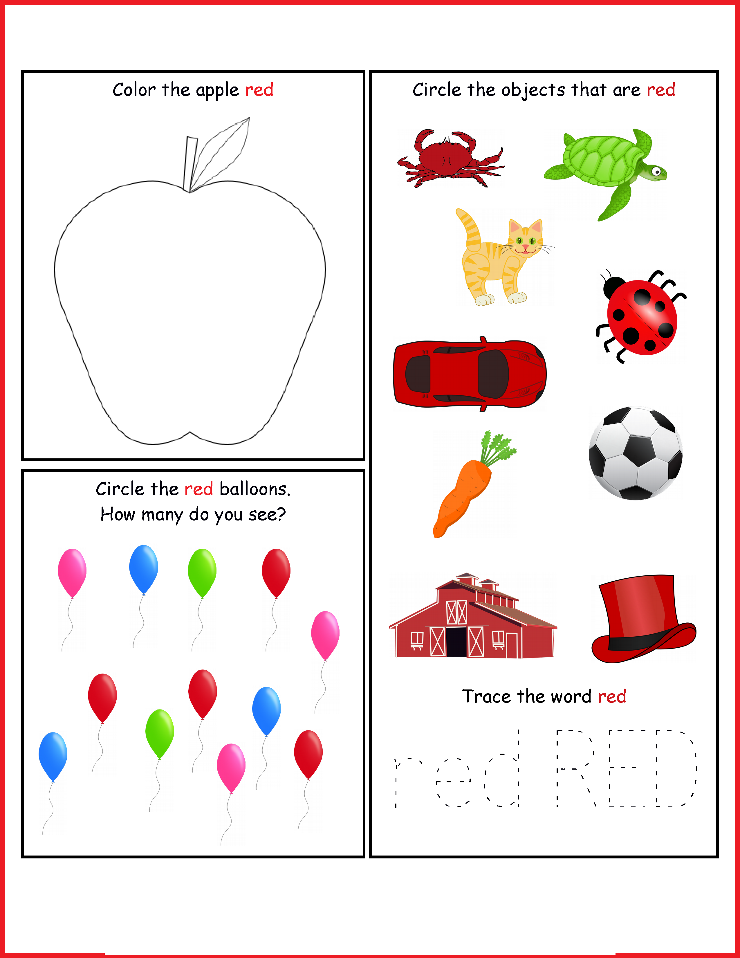 toddler activity worksheets red