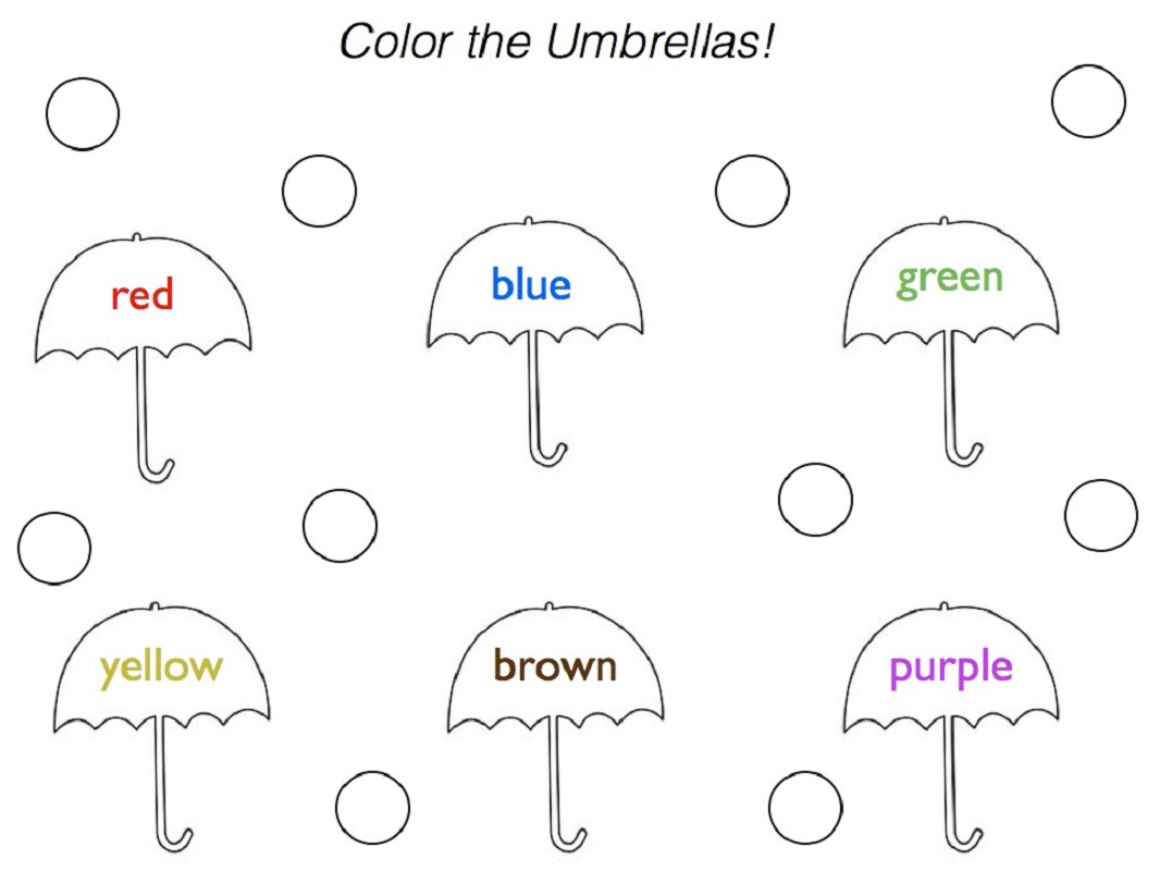 toddler activity worksheets umbrella