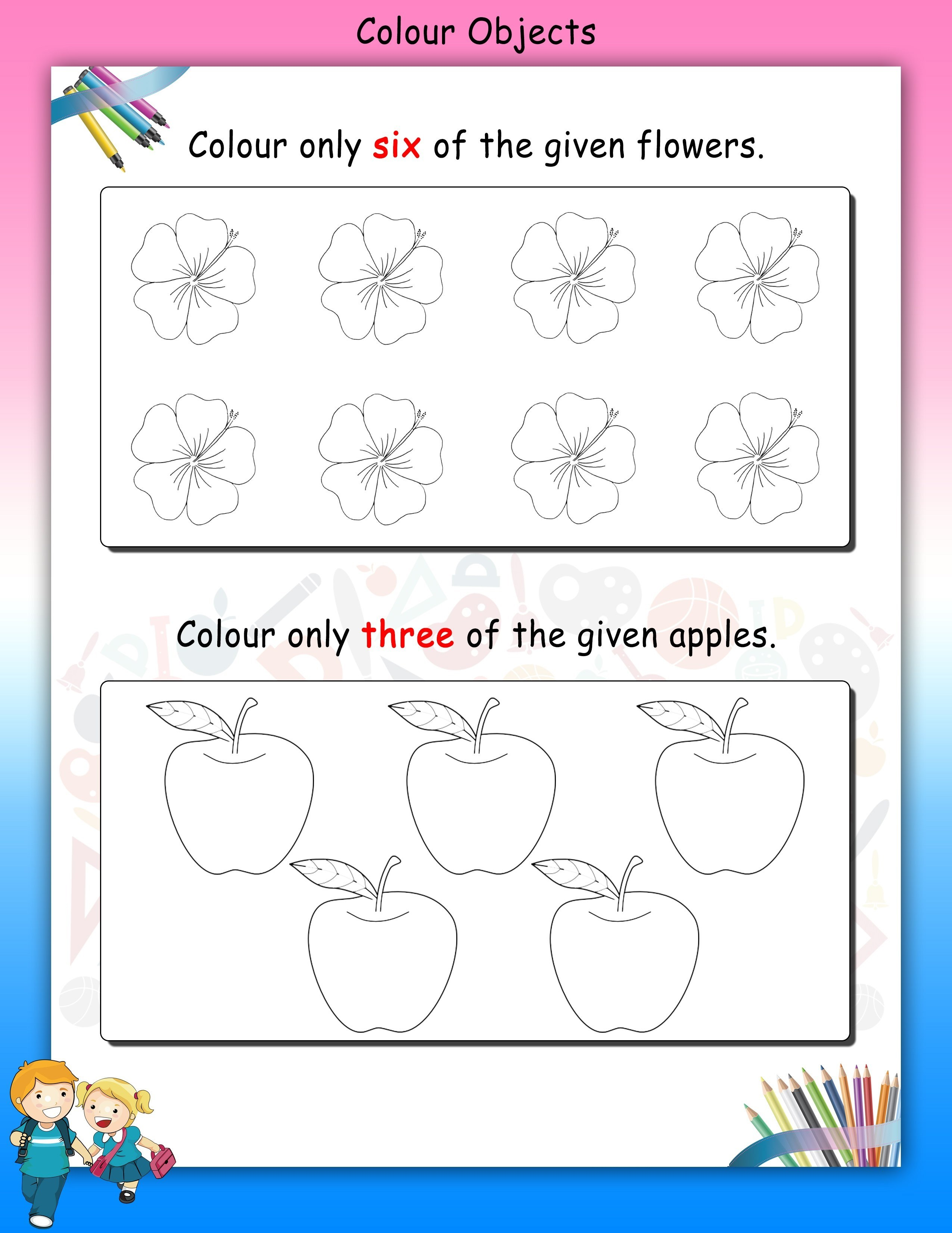 worksheet for nursery flowers and apple