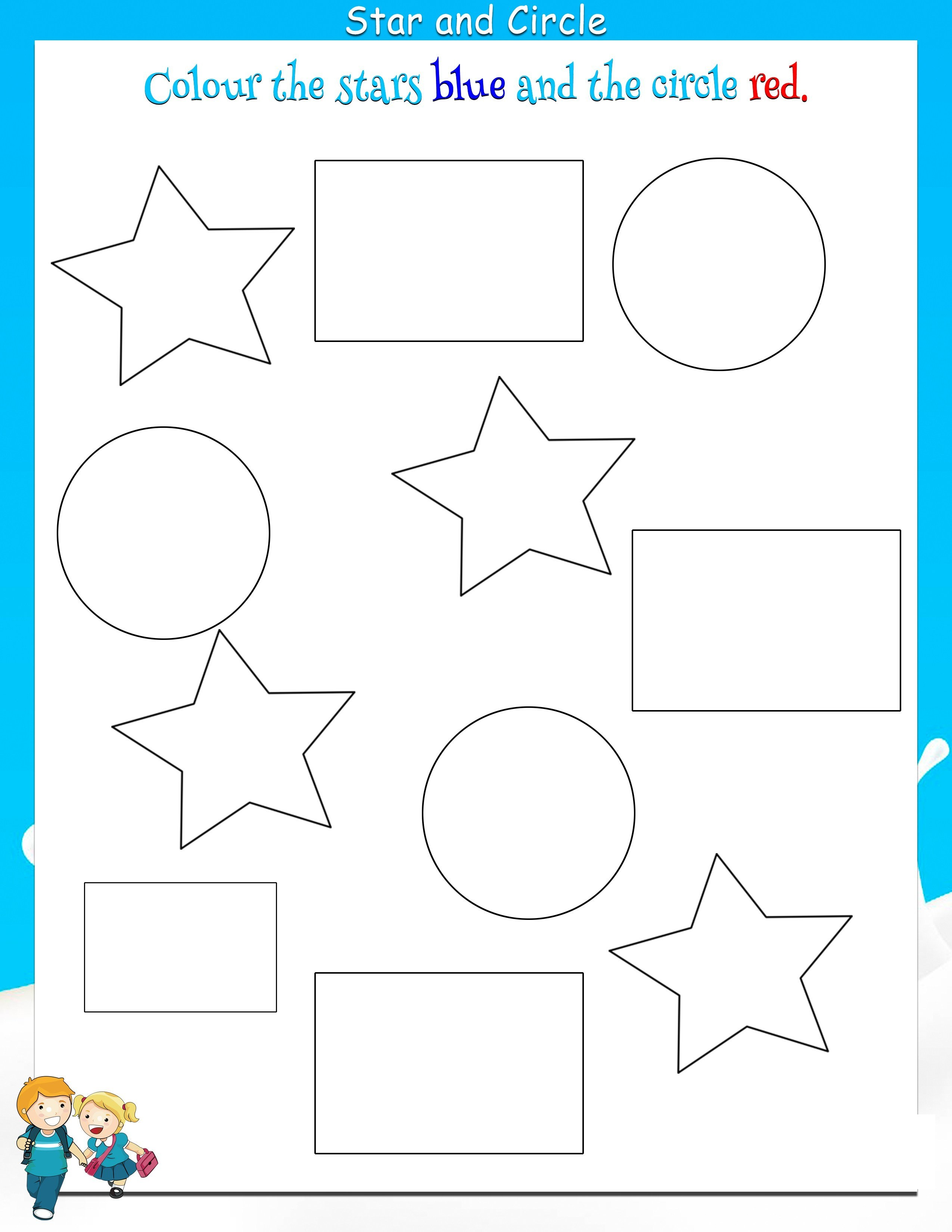 worksheet for nursery star and circle
