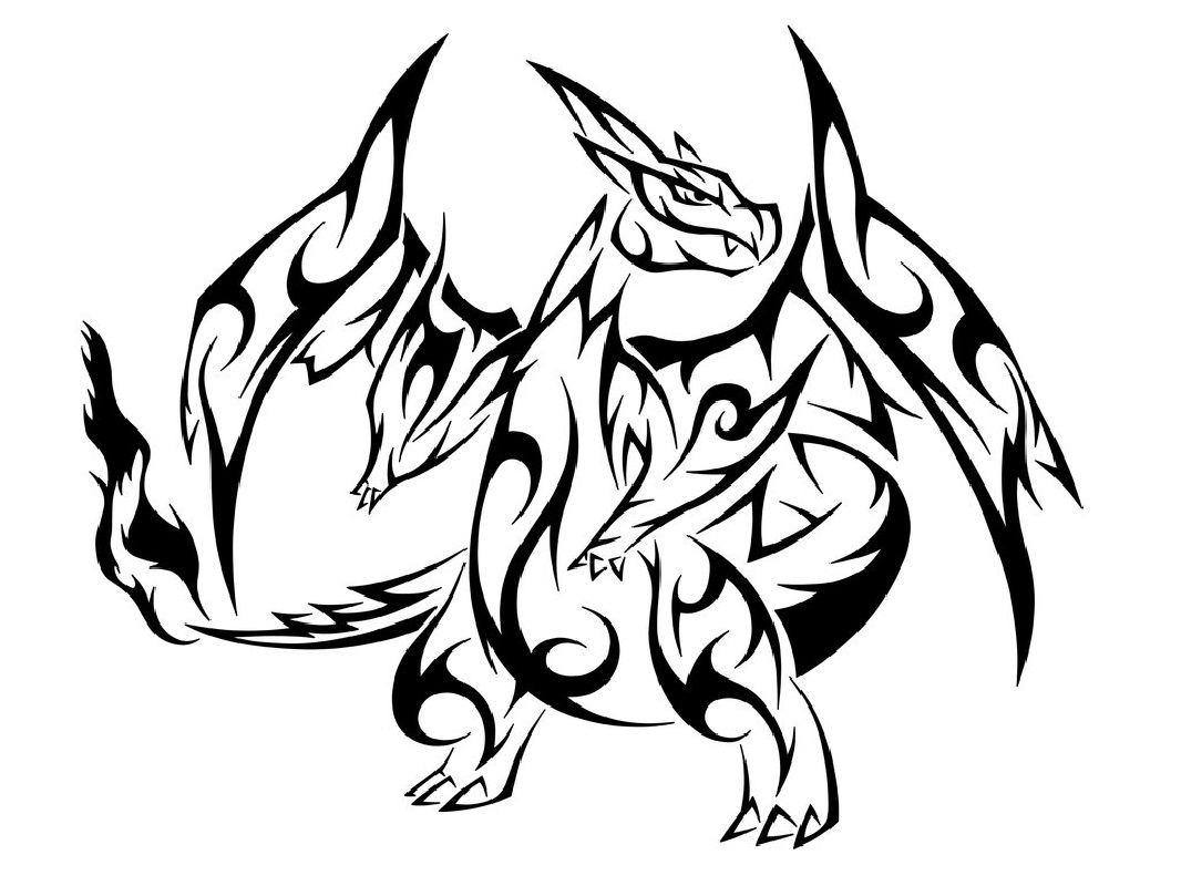 Tribal coloring pages dragon