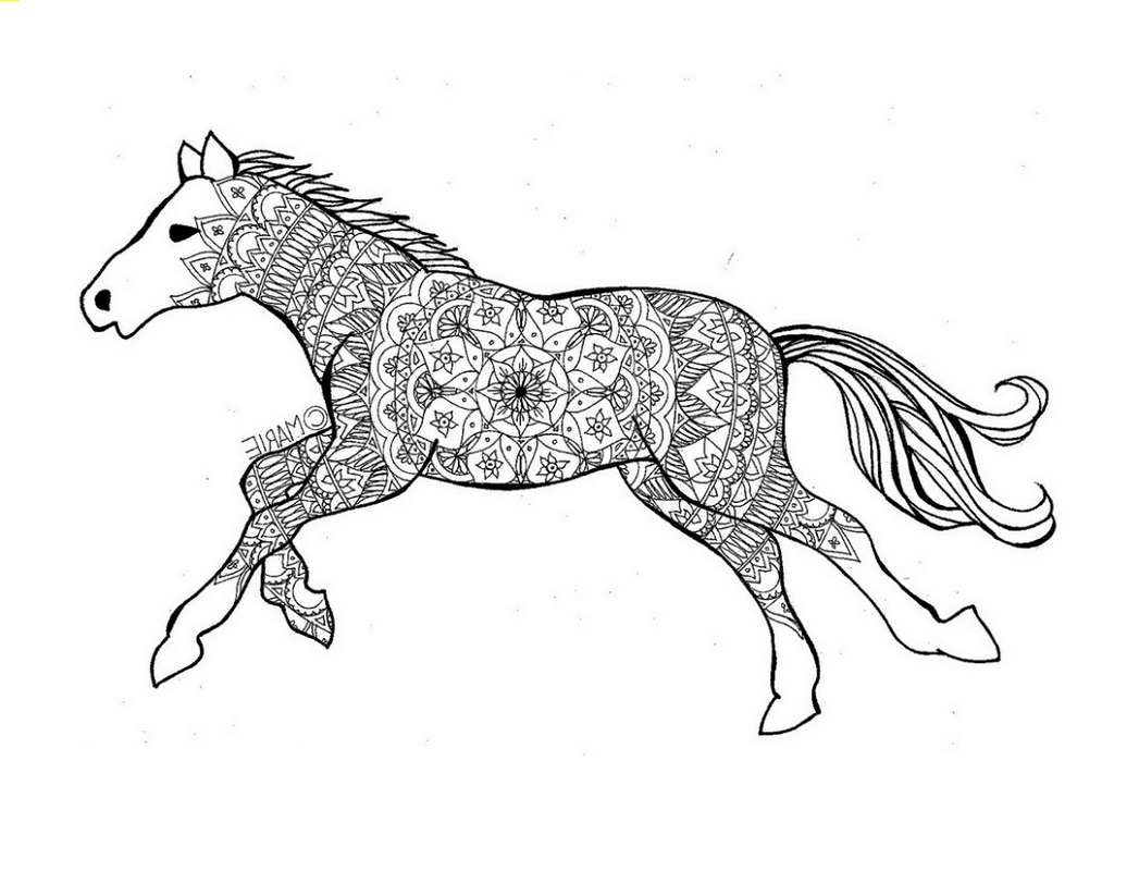Tribal coloring pages horse