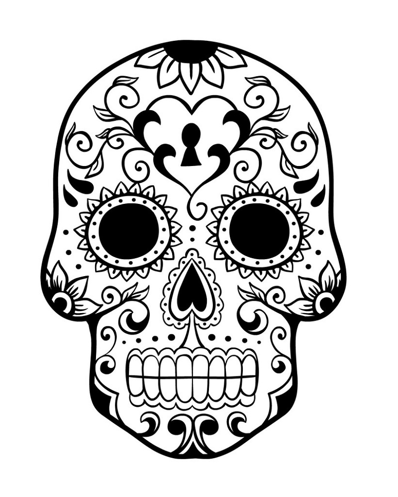 Tribal coloring pages skull