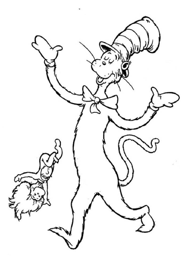 cat in the hat coloring sheet 1