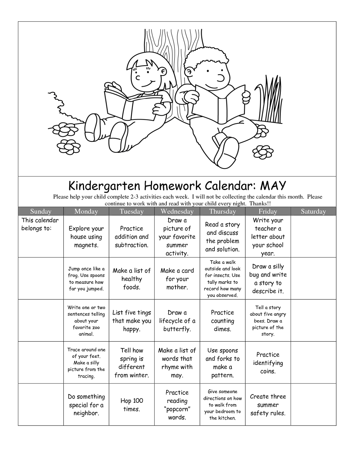 children's homework sheets 4