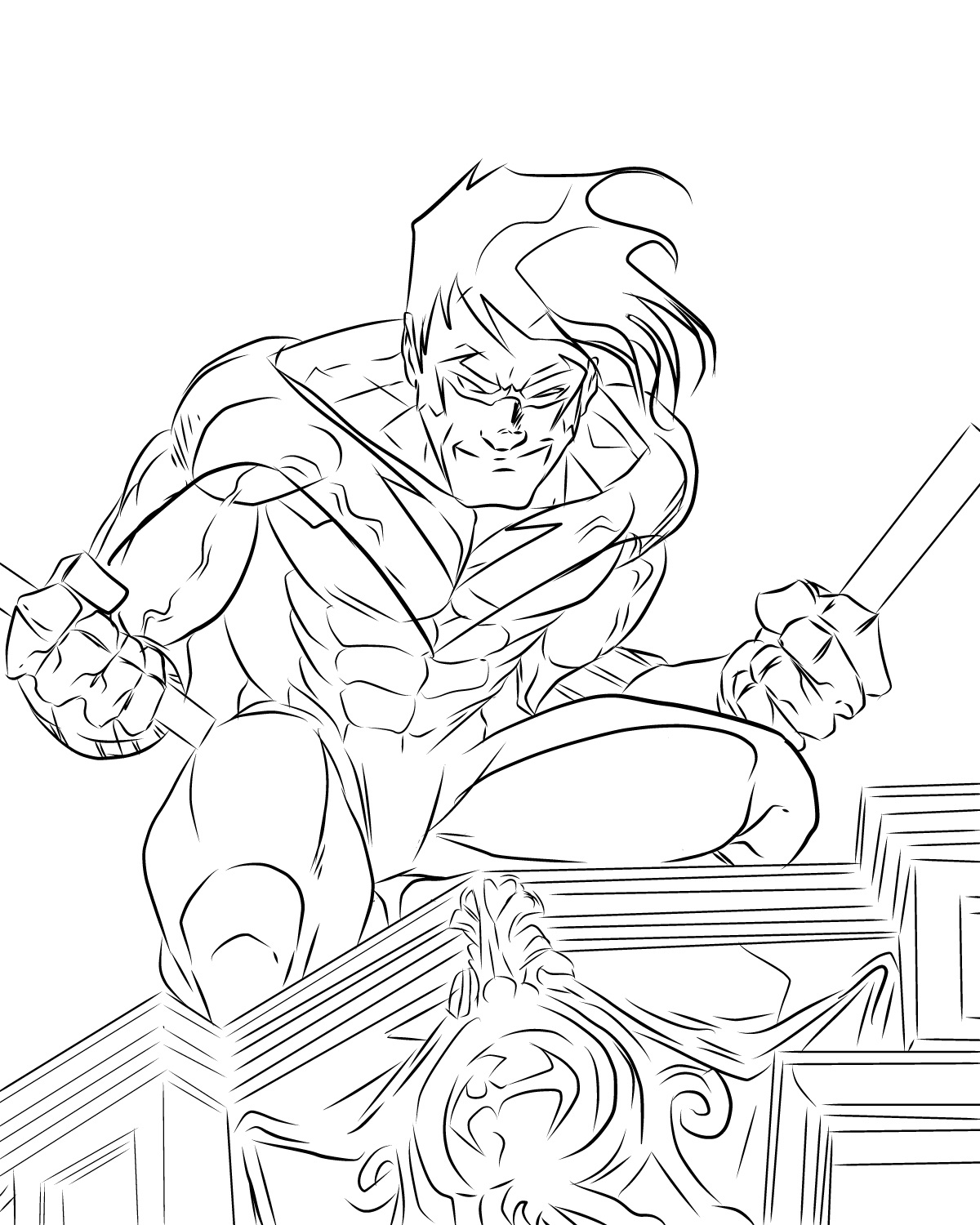 nightwing coloring pages 2