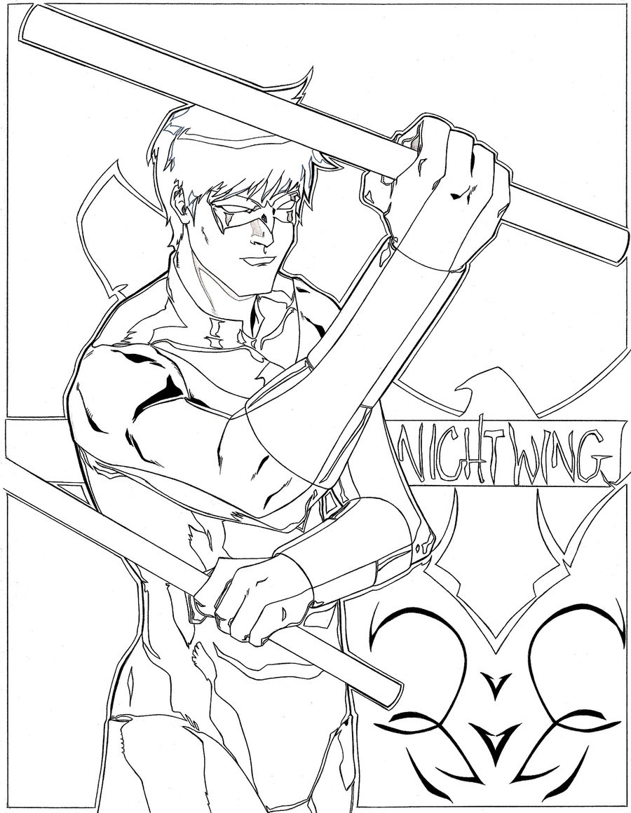 nightwing coloring pages 4
