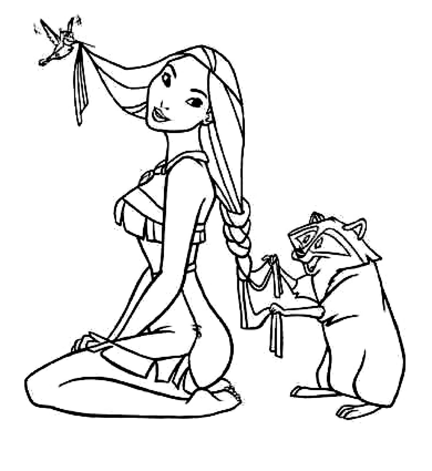 pocahontas coloring pages girl and cats