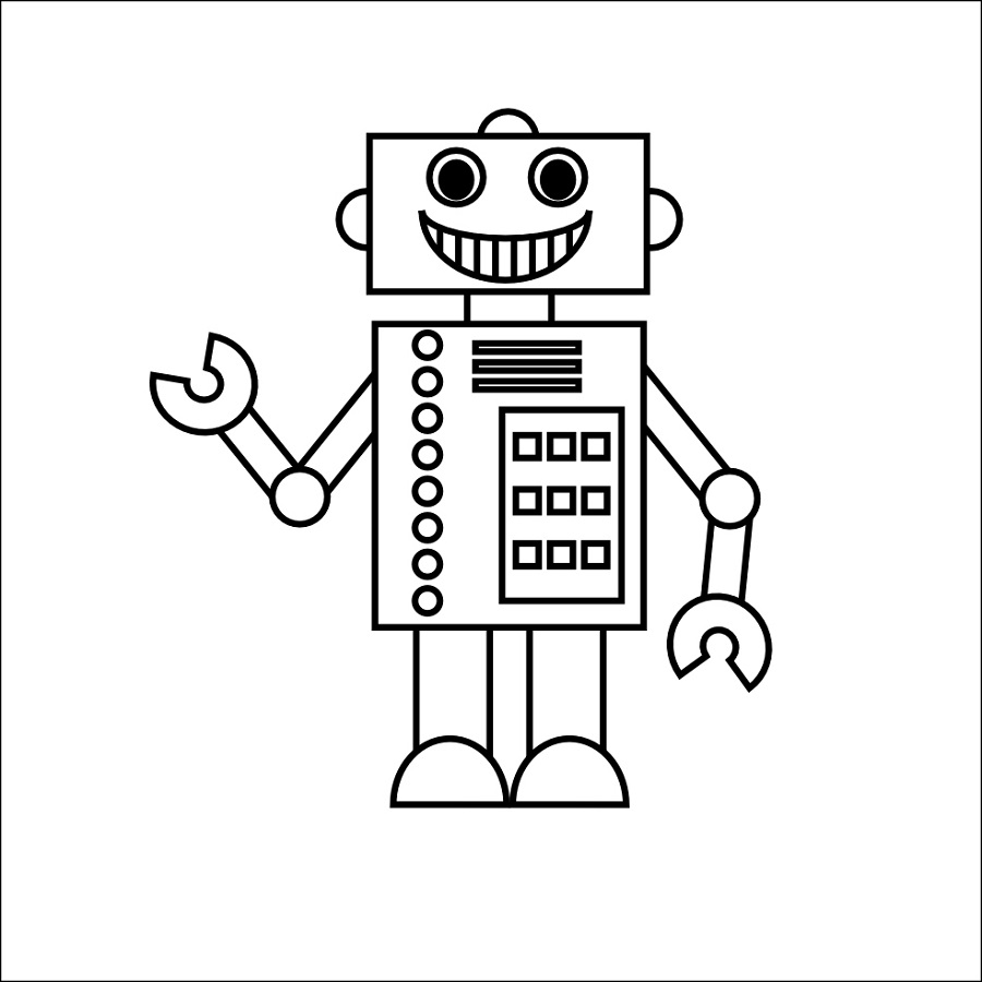 robot coloring pages 2