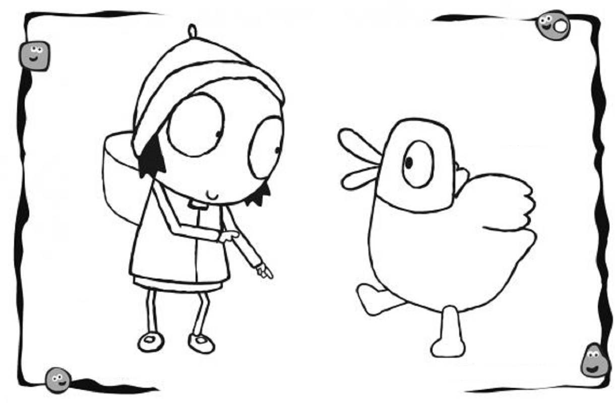 sarah and duck coloring pages 1