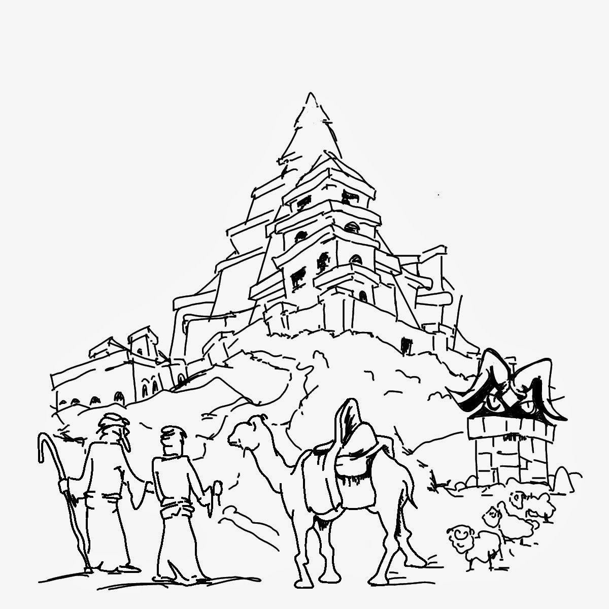 tower of babel coloring page 1
