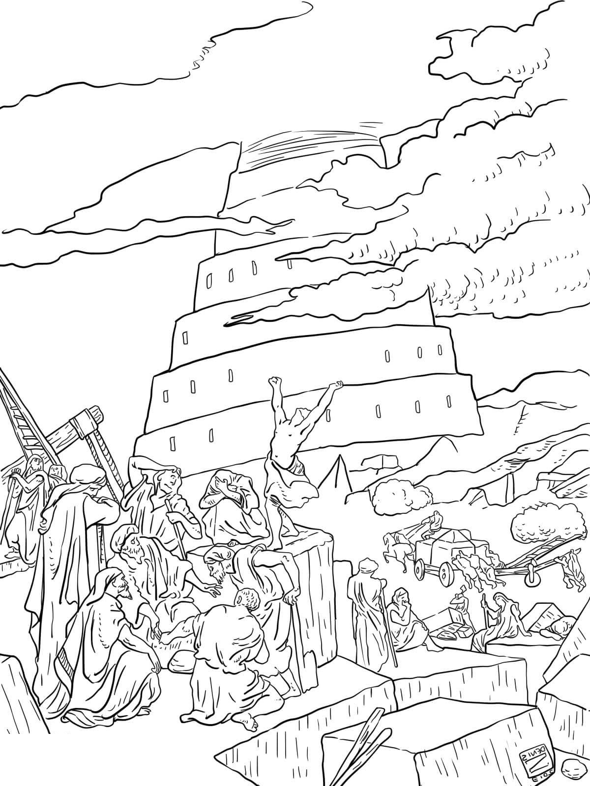 tower of babel coloring page 2
