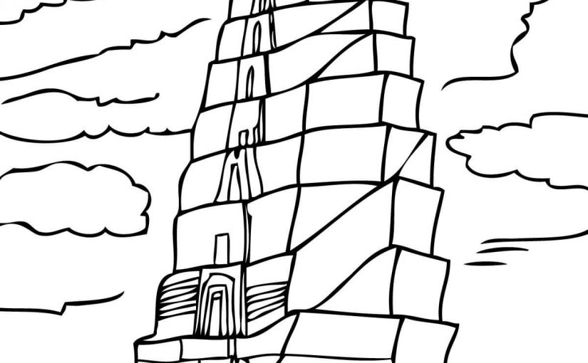 tower of babel coloring page 4