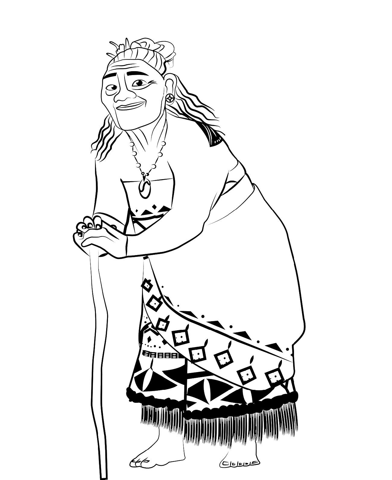 Moana Coloring Gramma Tala