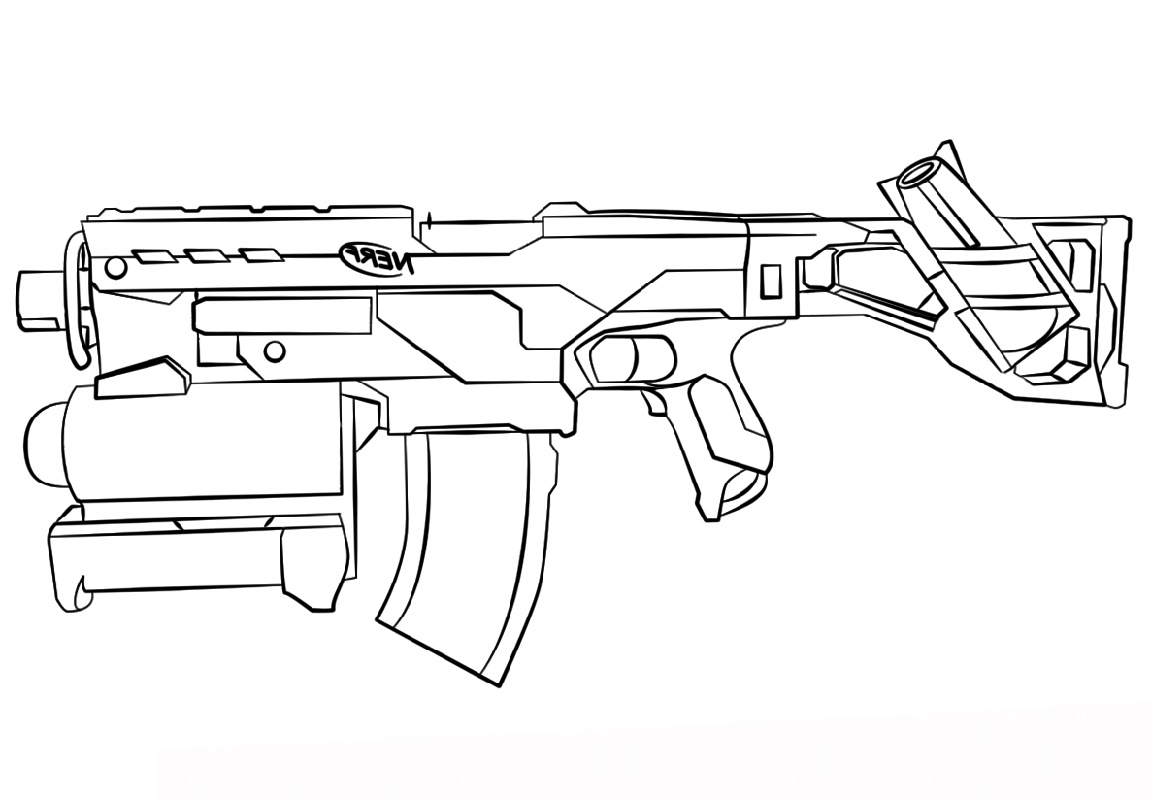 Nerf Coloring Pages Gun