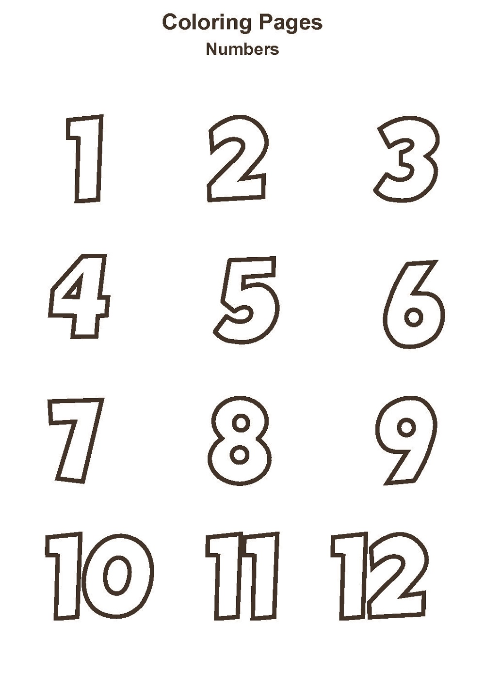 Number Coloring Pages Pictures