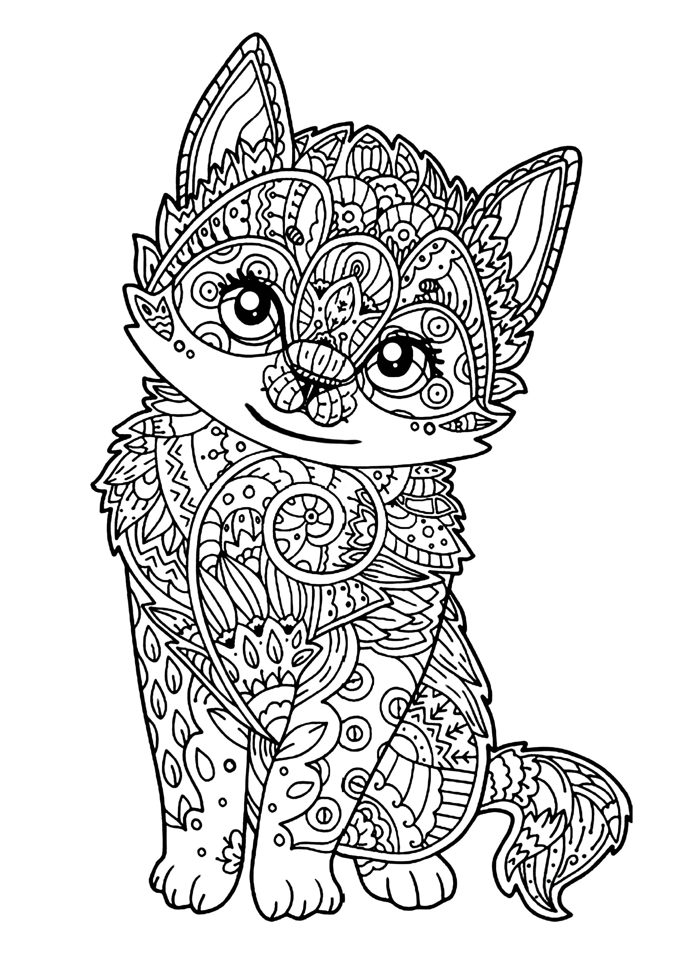 Online-Mandala-Coloring-Cat