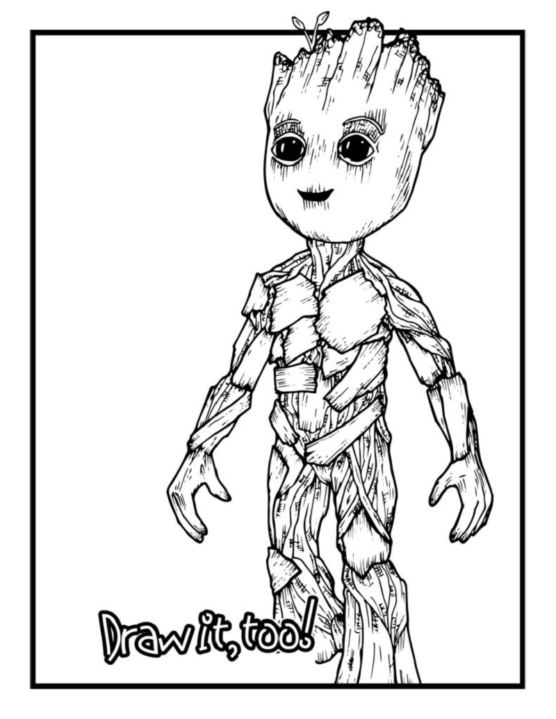 baby groot coloring page 1
